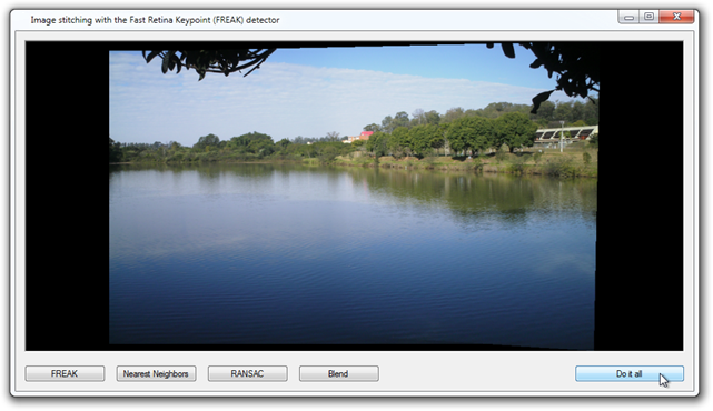 Image stitching with the FREAK feature detector.